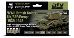 Vallejo 71614 Zestaw Model Air 8 farb - WWII British Colors UK/BEF/Europe 1939-1945