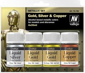 Vallejo 70199 Zestaw Metallic 4 farby - Gold, Silver & Copper