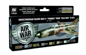 Vallejo 71607 Zestaw Air War 8 farb - Soviet / Russian colors Mig-21 Fishbed from 50 to 90