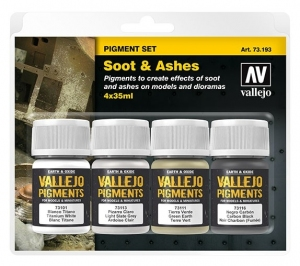 Vallejo 73193 Zestaw Pigmenty 4 kolory - Soot & Ashes
