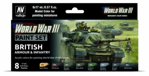 Vallejo 70222 Zestaw World War III 8 farb - British Armour & Infantry
