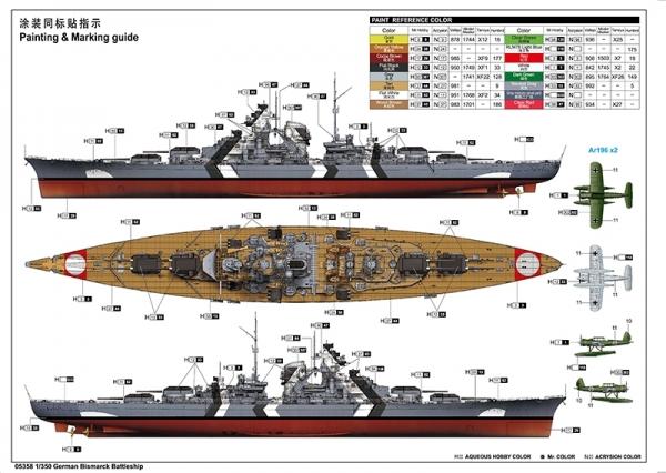 Trumpeter 05358 Pancernik Bismarck - 1:350