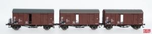 Zestaw 3 wagonów towarowych krytych Oppeln Glms, DB, Ep. IV