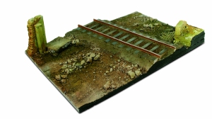 Vallejo SC104 Podstawa modelarska 31x21 cm Country Road Cross with Railway section 1:35