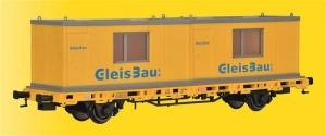 Kibri 26268 Wagon platforma z kontenerami mieszkalnymi GleisBau