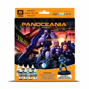 Vallejo 70231 Zestaw Infinity Exclusive Panoceania 8 farb + figurka Forvard Observer