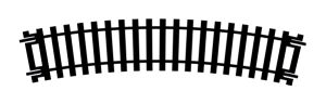 Hornby R604 Tor łukowy R1, R371 mm, 22,5st.
