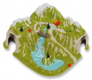 Tunel - Narożny, jednotorowy z rzeką i mostem, skala H0
