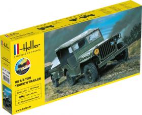 Heller 57105 Starter Set - Jeep Willys z przyczepą - 1:35