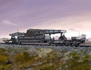 Hobby Boss 82906 Transporter kolejowy dla działa Karl-Geraet - 1:72