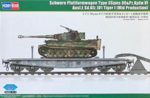 Hobby Boss 82934 Wagon platforma SSyms 80 z czołgiem Pz.Kpfw.VI Ausf.E Tiger I (Mid production) - 1:72
