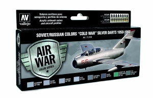 Vallejo 71610 Zestaw Air War 8 farb - Soviet / Russian colors Cold War Silver Darts 1950-1980