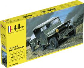 Heller 81105 Jeep Willys z przyczepą - 1:35