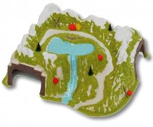 Tunel - Narożny, dwutorowy z rzeką, skala H0