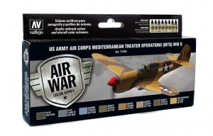 Vallejo 71183 Zestaw Air War 8 farb - US Army Air Corps Colors (MTO) WWII - Morze Śródziemne