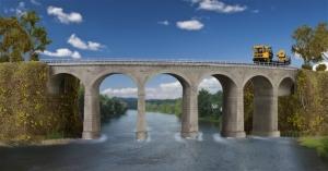 Kibri 39726 Kamienny most kolejowy jednotorowy - łuk