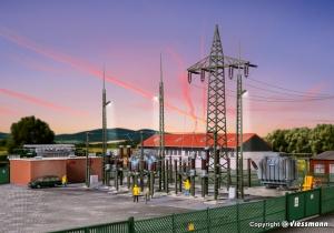 Kibri 39840 H0 Stacja transformatorowa z ogrodzeniem i oświetleniem LED