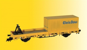 Wagon platforma z ładunkiem i kontenerem GleisBau