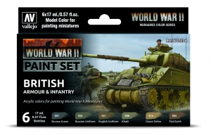 Vallejo 70204 Zestaw World War II 6 farb - British Armour & Infantry