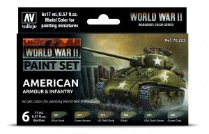 Vallejo 70203 Zestaw World War II 6 farb - American Armour & Infantry