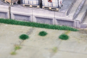 Kępy i paski trawy ciemnozielonej