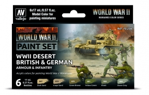 Vallejo 70208 Zestaw World War II 6 farb - Desert British & German Armour & Infantry