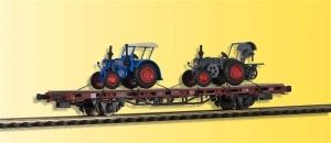 Kibri 26252 Wagon platforma z dwoma traktorami Lanz Bulldog