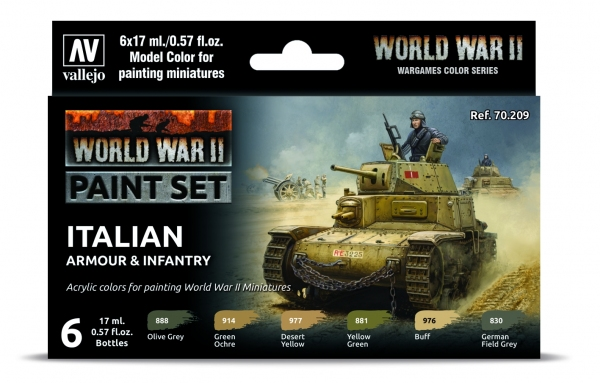 Vallejo 70209 Zestaw World War II 6 farb - Italian Armour & Infantry