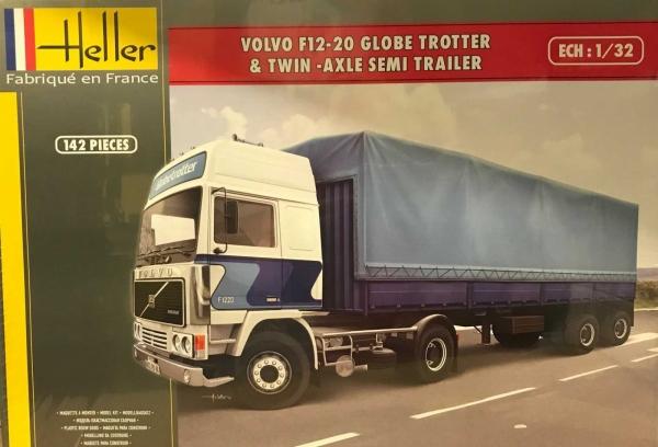 Heller 81703 Volvo F12-20 GlobeTrotter z naczepą plandekową 1:32