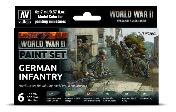 Vallejo 70206 Zestaw World War II 6 farb - German Infantry