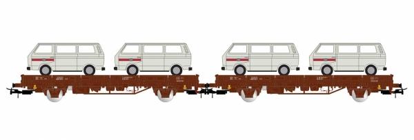 Dwa wagony platformy Kls z ładunkiem samochodów VW T2, DB, Ep. IV
