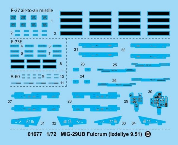 Trumpeter 01677 MIG-29UB Fulcrum (Izdeliye 9.51) - 1:72