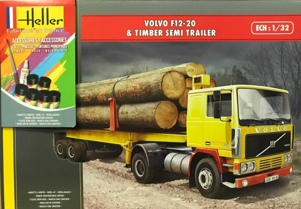Heller 57704 Starter Set - Volvo F12-20 z naczepą do drewna 1:32