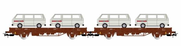 Rivarossi HR6458 Dwa wagony platformy Kls z ładunkiem samochodów VW T2, DB, Ep. IV