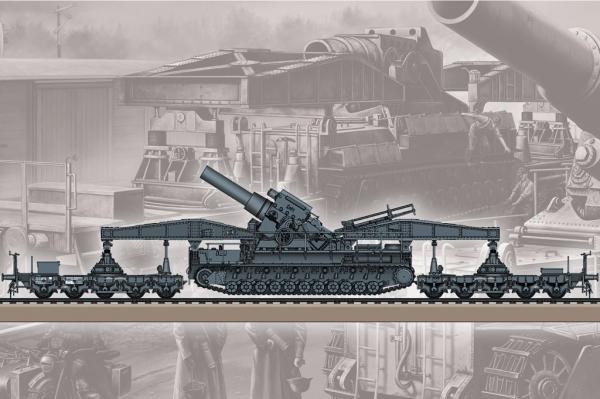 Hobby Boss 82961 Morser Karl-Gerat 040/041 na transporterze kolejowym - 1:72