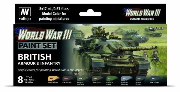 Vallejo 70222 Zestaw World War III 6 farb - British Armour & Infantry