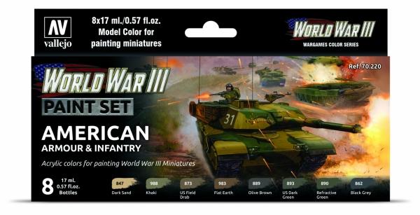 Vallejo 70220 Zestaw World War III 8 farb - American Armour & Infantry