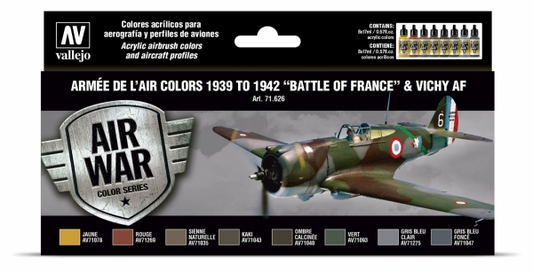 Vallejo 71626 Zestaw Air War 8 farb - Armée De L'air Colors 1939-1942 Battle of France & Vichy AF