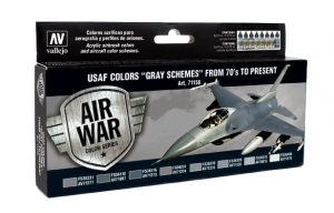 Vallejo 71156 Zestaw Air War 8 farb - USAF Colors Gray Schemes from 70's to present