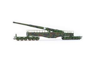 Rivarossi HR6451 Działo kolejowe Leopold K5 (brązowo-zielony kamuflaż), DRB, Ep. II