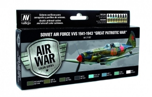 Vallejo 71197 Zestaw Air War 8 farb - Soviet Air Force VVS 1941-1943