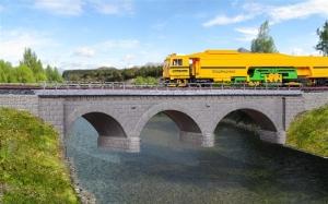 Kibri 39723 Kamienny most kolejowy jednotorowy - łuk