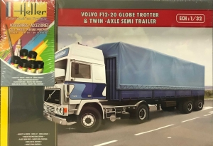 Heller 57703 Starter Set - Volvo F12-20 GlobeTrotter z naczepą plandekową - 1:32
